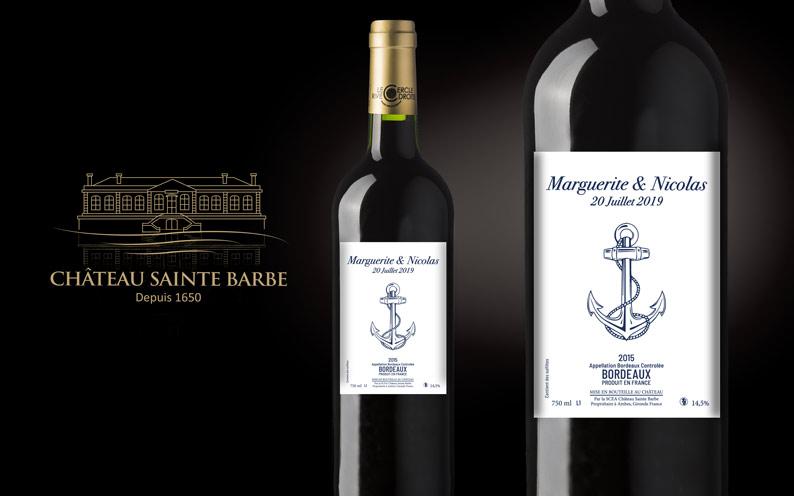 mariage étiquette de vins