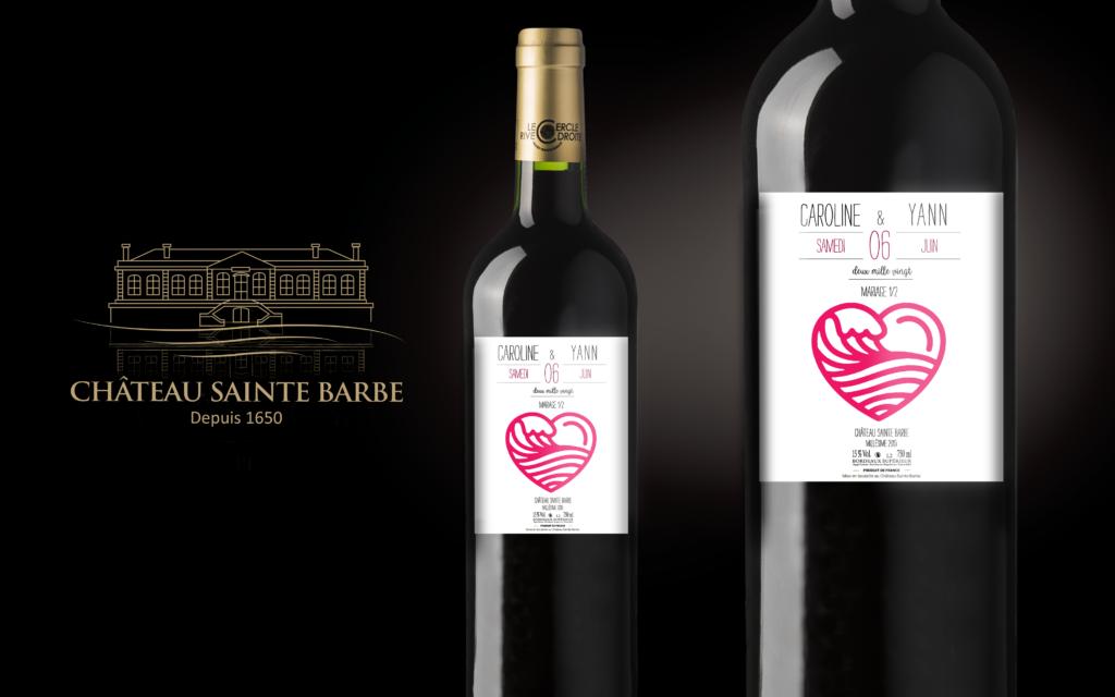 étiquette personnalisée mariage, château sainte barbe, étiquette vin mariage